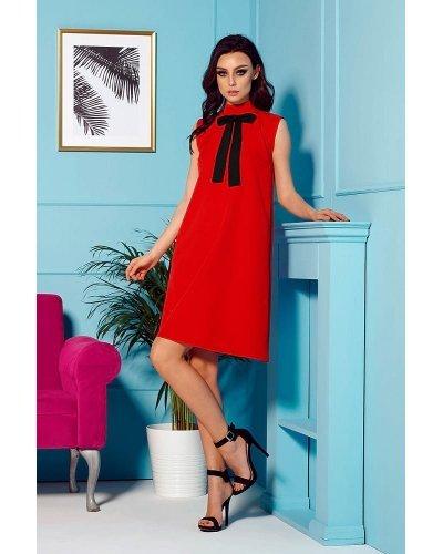 Rochie de zi midi rosie eleganta Oana