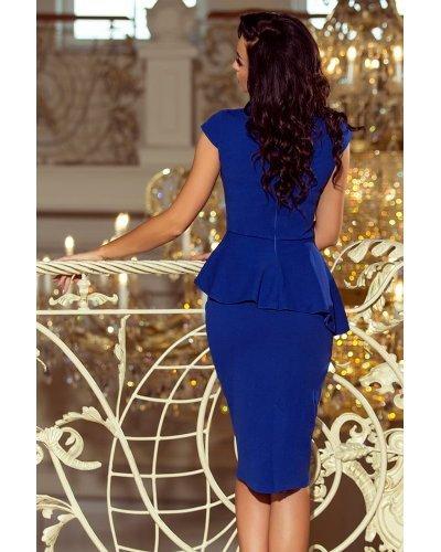 Rochie eleganta midi albastra cu peplum Ema
