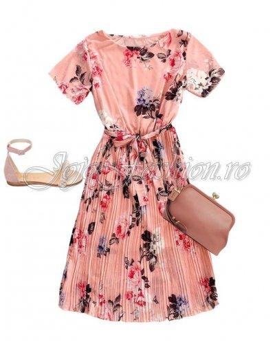 Rochie de ocazie midi plisata multicolora roz cu flori  Ayse