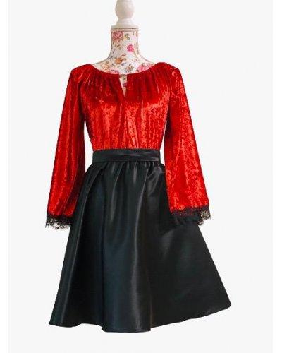 Rochie de ocazie midi din catifea rosie si tafta neagra Linette