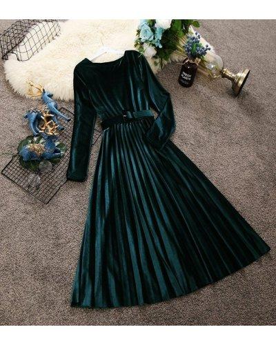 Rochie de ocazie midi din catifea verde plisata Aryanne