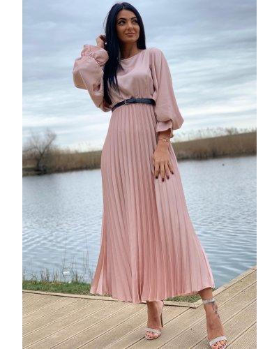 Rochie de ocazie lunga din satin roz plisata Alicia