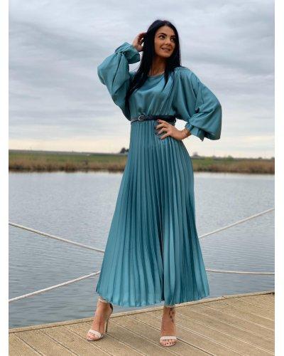 Rochie de ocazie lunga din satin bleu turcoaz plisata Alicia