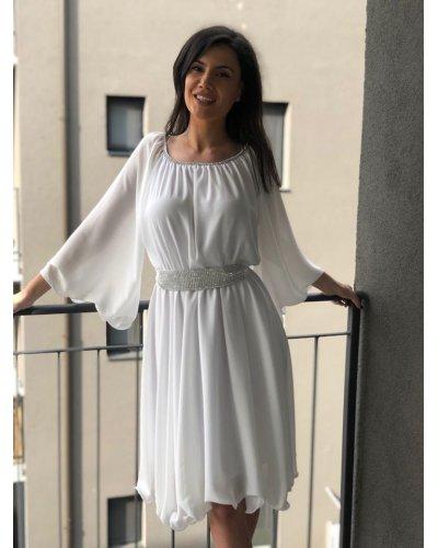 Rochie de ocazie midi vaporoasa din voal alb Alexia