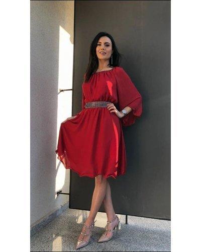 Rochie de ocazie midi vaporoasa din voal rosu Alexia