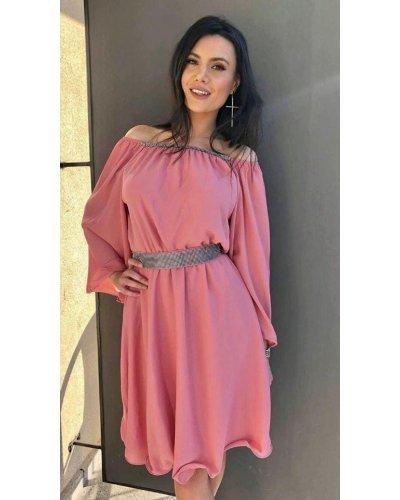 Rochie de ocazie midi vaporoasa din voal roz Alexia