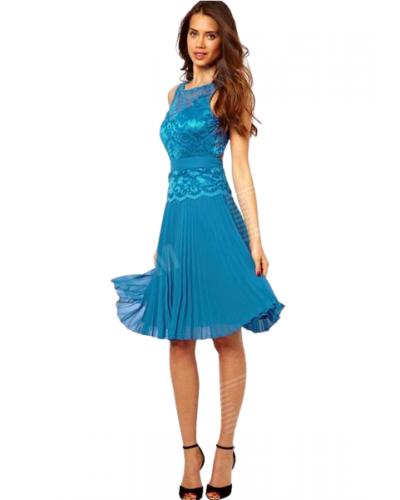 Rochie de ocazie plisata bleu cu dantela pe bust Skater