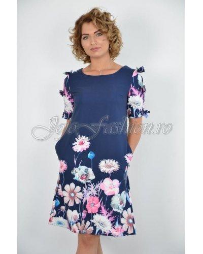 Rochie de zi midi cu flori multicolore croi A Barbara