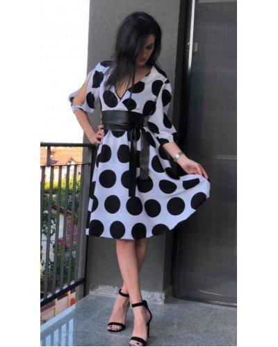 Rochie de zi midi din voal alb cu buline negre Alisa