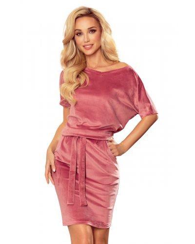 Rochie casual de zi din catifea roz prafuit Cassie