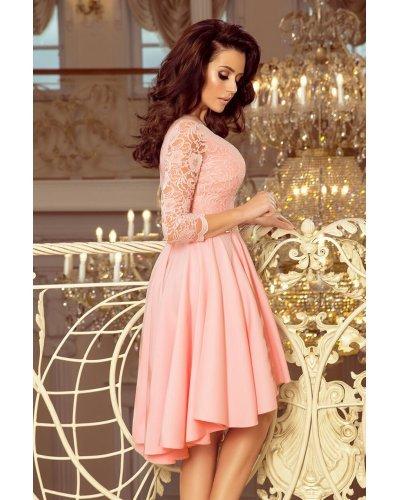 Rochie de ocazie cu dantela roz asimetrica Anastasia