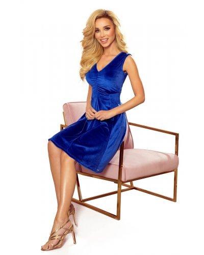 Rochie de ocazie din catifea albastra midi Lyndsey