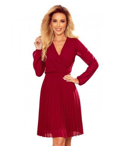 Rochie de ocazie midi burgundy plisata fluida Lisa