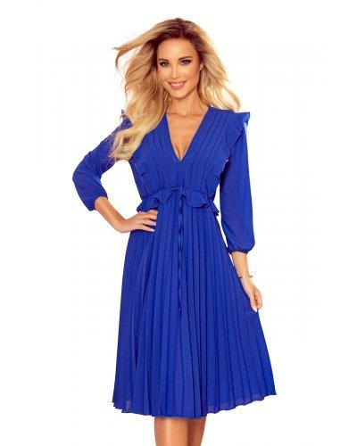 Rochie de ocazie plisata albastru regal cu volane Angel