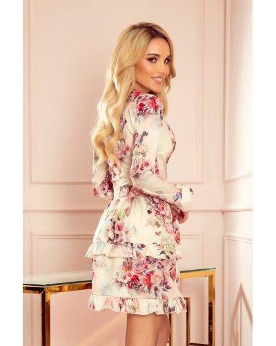 Rochie de zi scurta cu volane si imprimeu floral Rosina