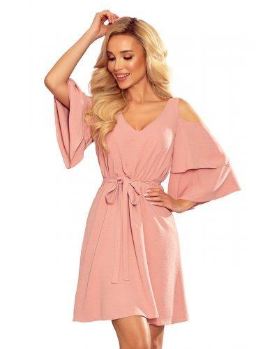 Rochie de zi scurta roz prafuit Craita
