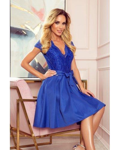 Rochie de ocazie albastru regal cu dantela Vivian