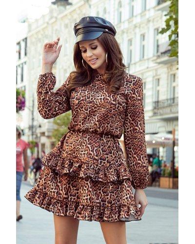 Rochie de zi scurta leopard print cu volane Gemma