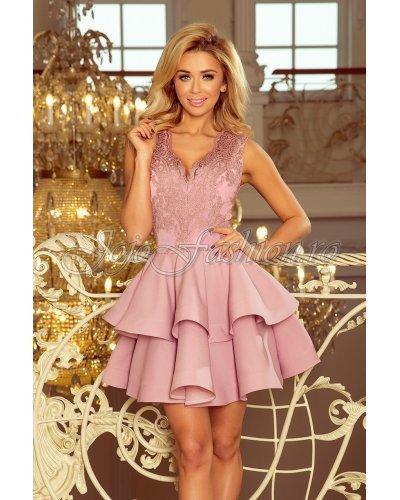 Rochie eleganta scurta roz baby doll Ania