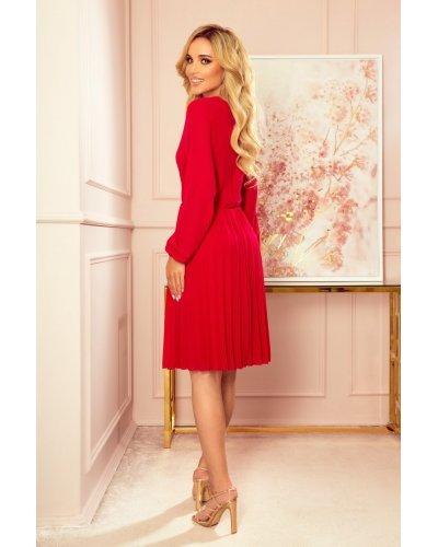 Rochie de ocazie eleganta midi plisata voal rosu Lisa