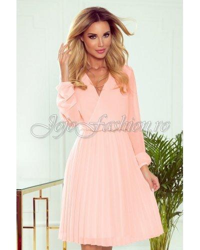 Rochie de ocazie eleganta midi roz piersica plisata Lisa