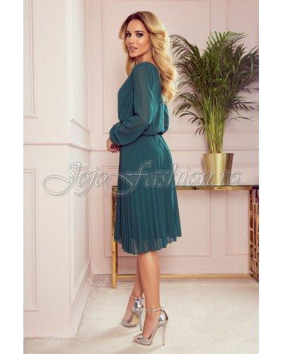 Rochie de ocazie eleganta midi verde plisata fluida Lisa
