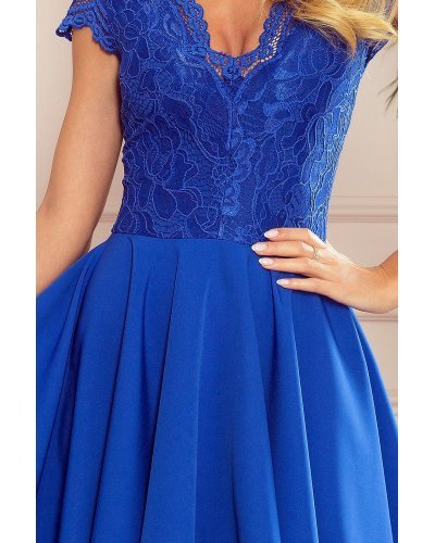 Rochie de ocazie midi cu dantela albastra Ivy