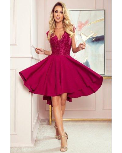 Rochie de ocazie midi cu dantela burgundy Ivy