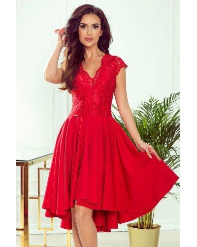 Rochie de ocazie midi cu dantela rosie Ivy