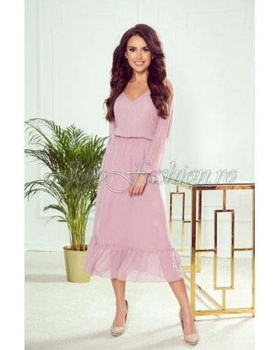 Rochie de ocazie midi din sifon roz pudrat Calina