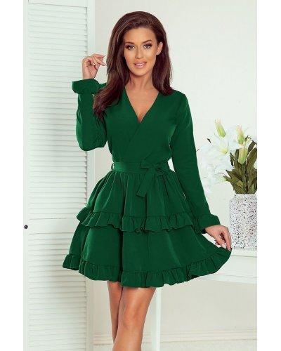 Rochie de zi scurta cu volane suprapuse verde smarald Rosina