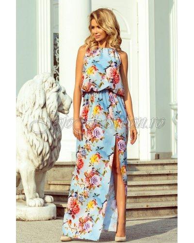 Rochie de zi bleu cu flori multicolore lunga Irenne