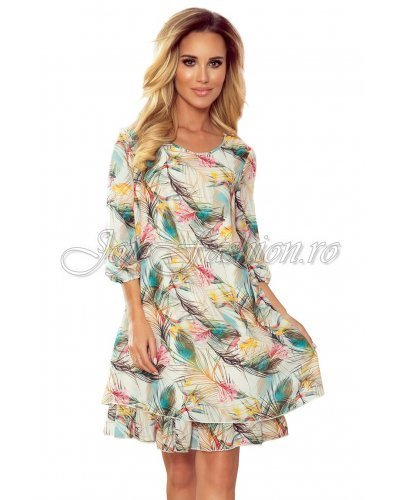 Rochie de zi eleganta fluida cu print multicolor Karen