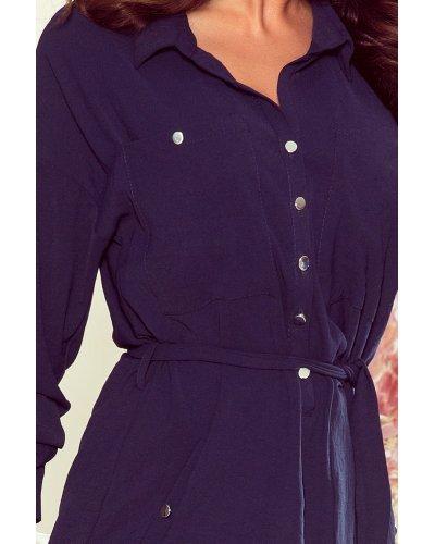 Rochie de zi midi tip camasa bleumarin Marielle