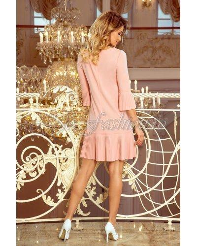 Rochie de zi roz pal scurta croi in A plisata Numoco Codruta