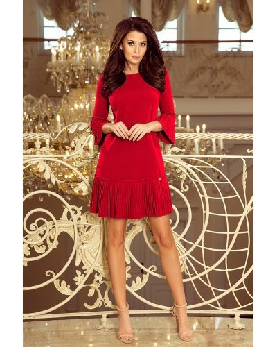 Rochie de zi rosie scurta cu volan plisat Codruta