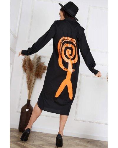 Camasa dama lunga din bumbac cu imprimeu Ludmilla