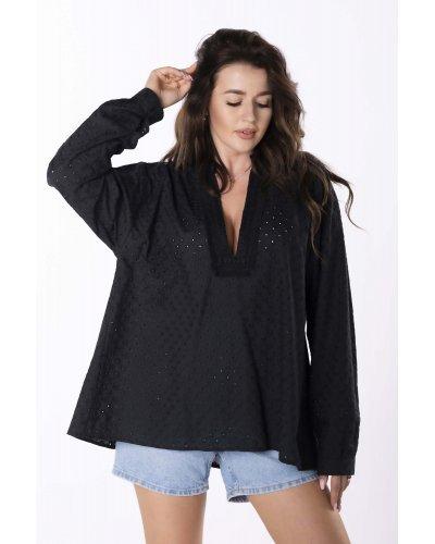 Camasa dama neagra tip tunica din bumbac Flower