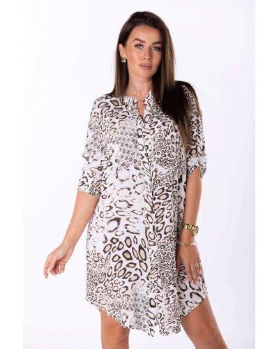 Rochie de zi oversize tip camasa animal print Tiara