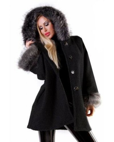 Palton de dama negru cu blana la maneci si gluga Angela