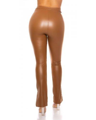 Pantaloni dama mulati piele eco maro Lokma