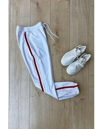 Pantaloni dama trening sport albi cu dungi subtiri Leah