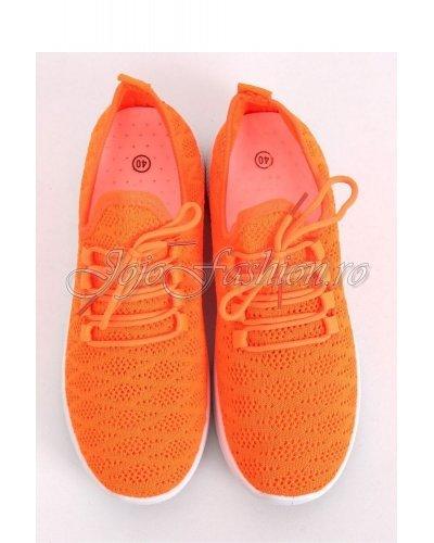 Pantofi sport orange dama cu platforma Riana