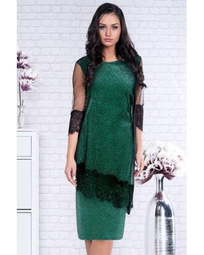 Rochie de ocazie XXL din lurex verde si tul negru Ramona