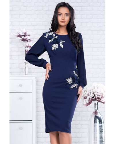 Rochie de ocazie midi bleumarin Naomi