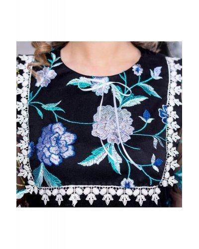 Rochie de ocazie midi neagra cu broderie florala Lourens