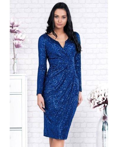 Rochie de seara midi din paiete albastre Eloise