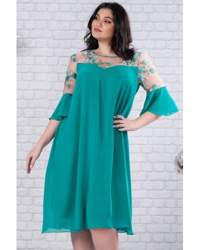 Rochie XXL midi croi A verde turcoaz cu broderie Lunara