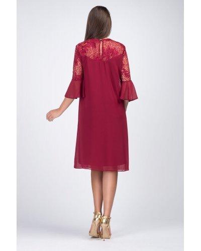 Rochie XXL midi croi A burgundy cu maneci clopot Lunara2