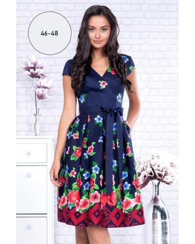 Rochie XXL midi eleganta de zi bumbac bleumarin Maria